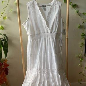 Studio West White Cottage Core Dress XL